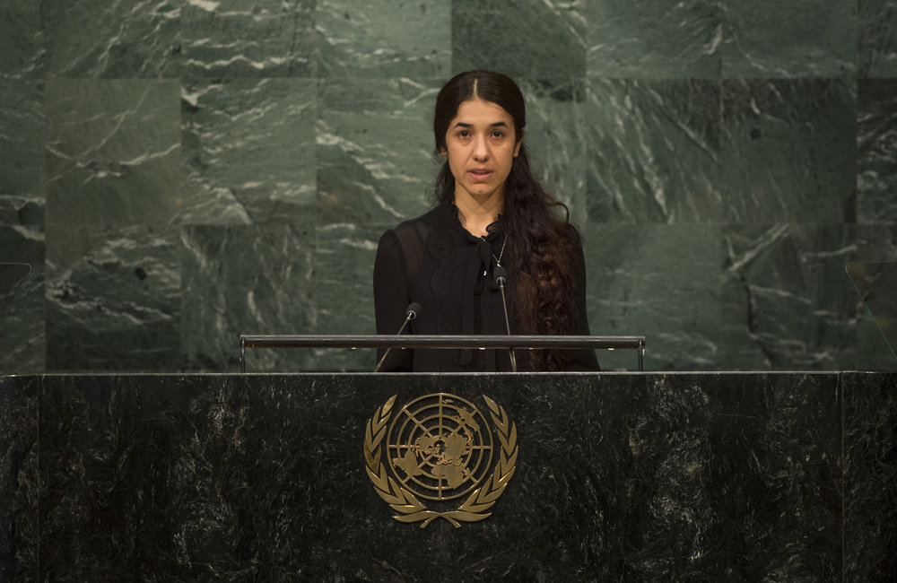 Nadia Murad Basee Taha, UNODC (UN Office on Drugs and Crime) Goodwill Ambassador for the Dignity of Survivors of Human Trafficking, addresses the opening segment of the United Nations high-level summit on large movements of refugees and migrants