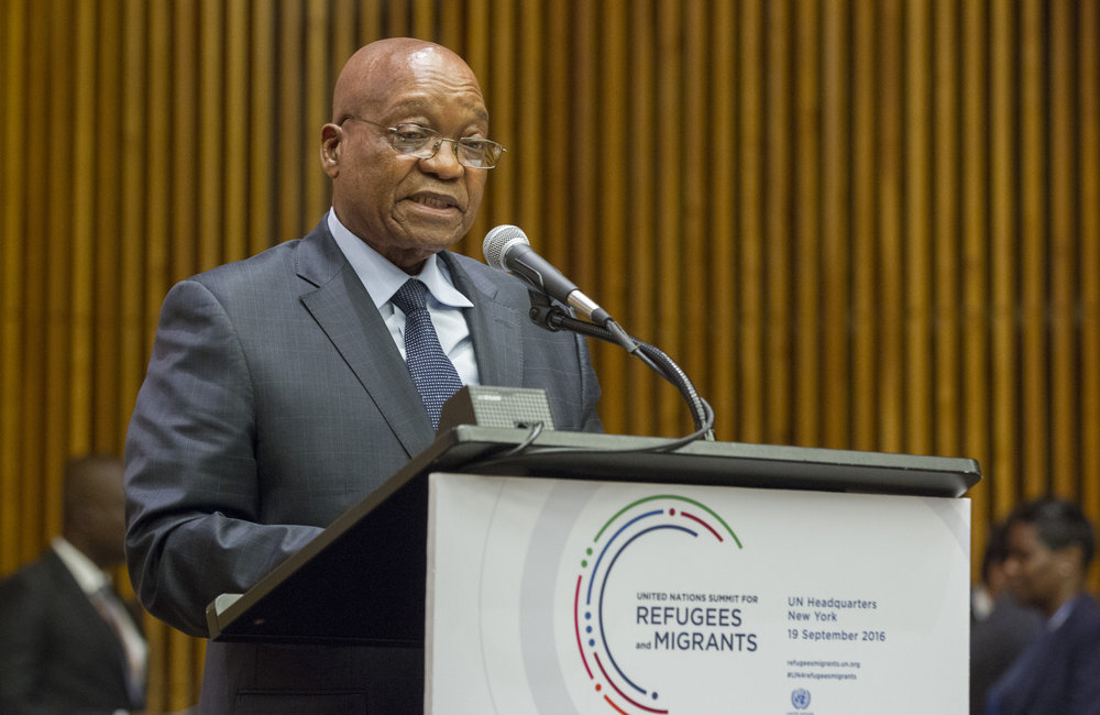 Jacob Zuma, President of the Republic of South Africa, addresses the United Nations high-level summit on large movements of refugees and migrants.