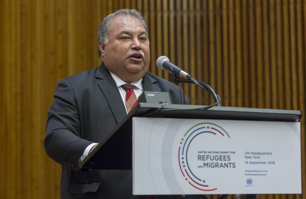 Baron Divavesi Waqa, President of the Republic of Nauru, addresses the United Nations high-level summit on large movements of refugees and migrants.