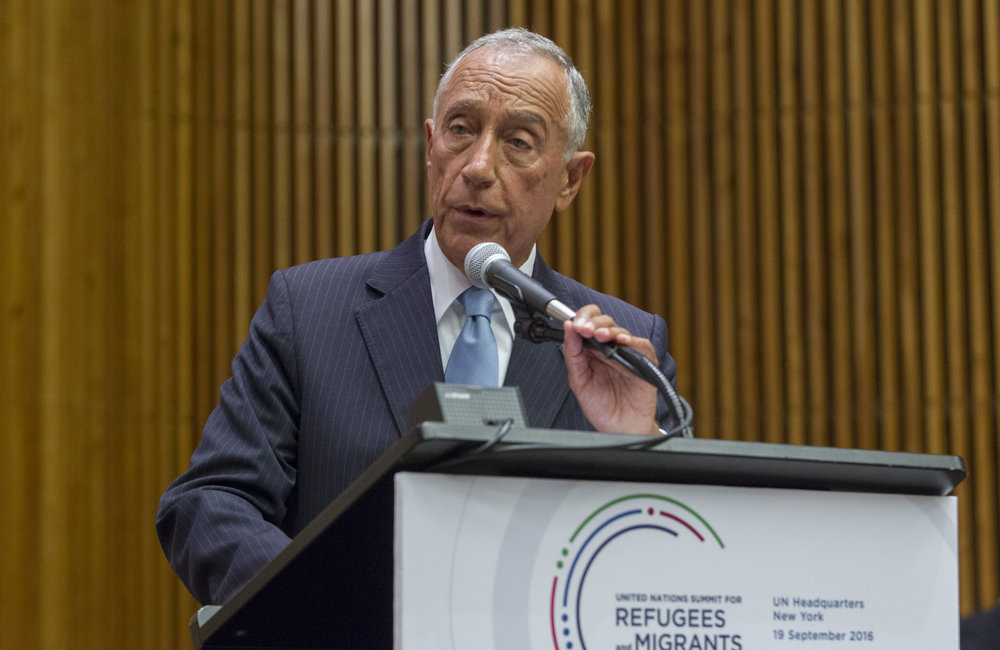 Marcelo Rebelo de Sousa, President of Portugal, addresses the United Nations high-level summit on large movements of refugees and migrants.