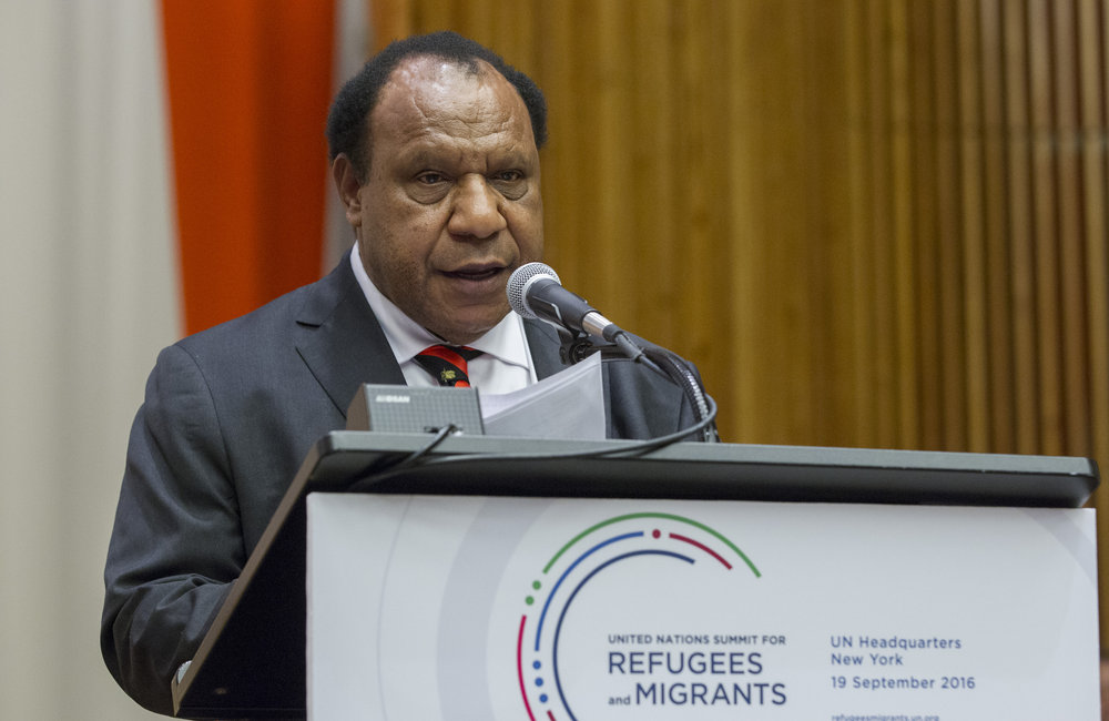 Rimbink Pato, Minister for Foreign Affairs of Papua New Guinea of the Independent State of Papua New Guinea, addresses the United Nations high-level summit on large movements of refugees and migrants.
