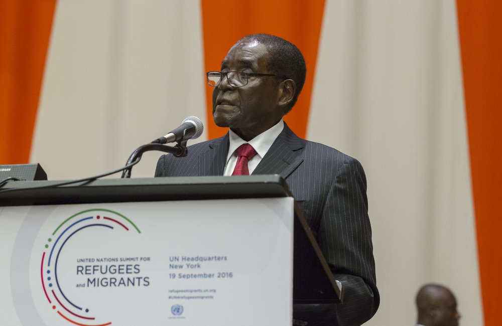 Robert G. Mugabe, President of the Republic of Zimbabwe, addresses the United Nations high-level summit on large movements of refugees and migrants.